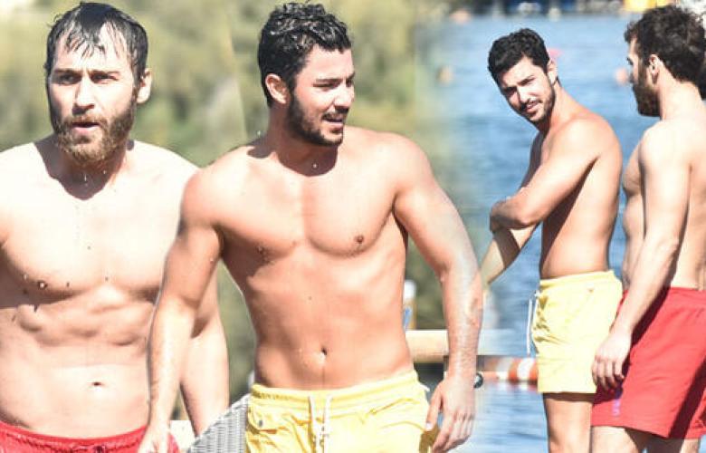 Kaan Yıldırım ve Seçkin Özdemir'den Bodrum'da kas şov!