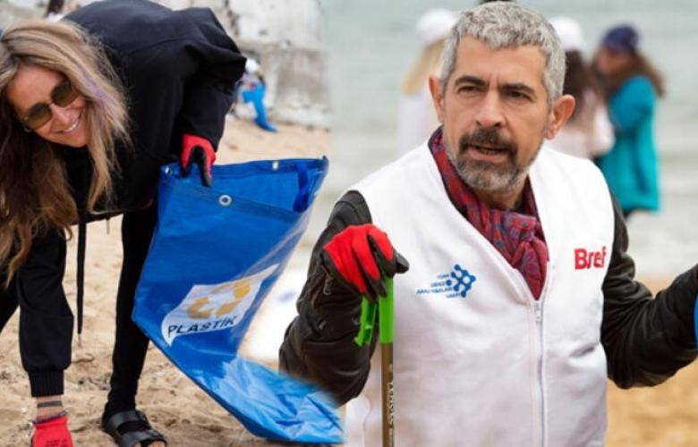 Okan Bayülgen ile Bennu Gerede kıyılarda çöp topladı!